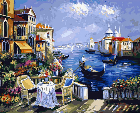 Картина по номерам 40x50 Уютный столик на крыльце в Венеции